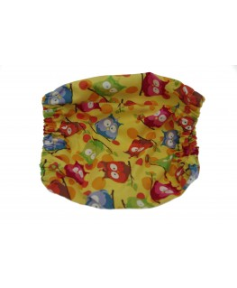 Snood Jaune Hiboux Fous taille puppy (snood cavalier king charles)